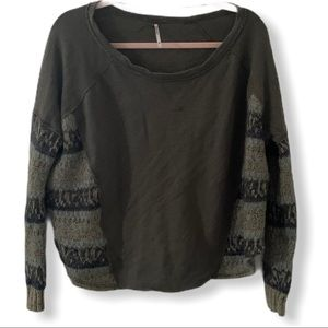 Free People Army Green Sweater Crocheted Sides XS